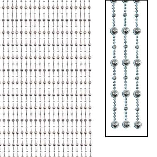 "78"" Metallic Silver Disco Bead Birthday Party Hanging Door Curtain Decor - IMAGE 1"