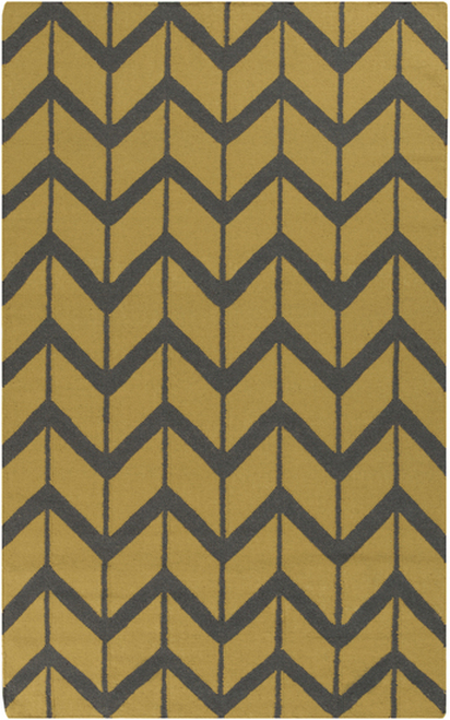2' x 3' Chevron Pathway Olive Green and Gray Hand Woven Wool Area Throw Rug - IMAGE 1