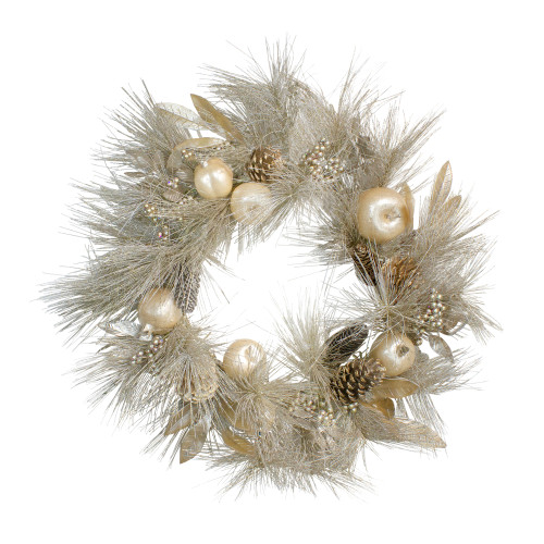 Champagne Gold Pomegranate and Apple Pine Needle Christmas Wreath - 24-Inch, Unlit - IMAGE 1