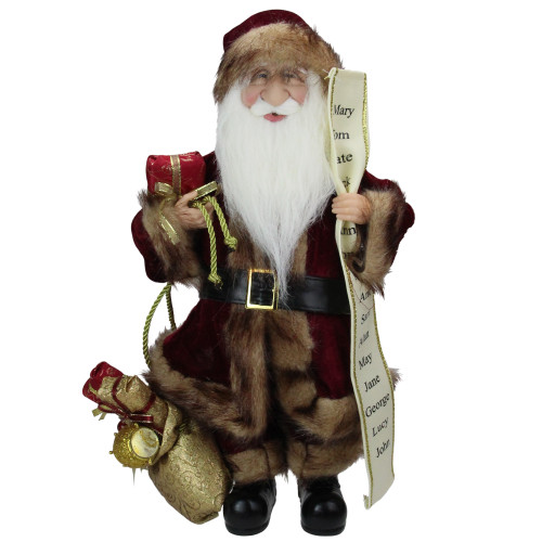"18"" Red Woodland Santa Claus Christmas Figure with Naughty and Nice List - IMAGE 1"