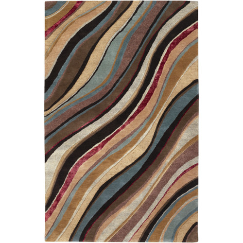 3.25' x 5.25' Brown and Beige Rectangular New Zealand Wool Area Throw Rug - IMAGE 1