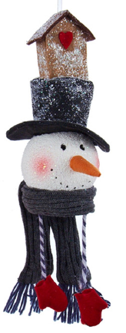 """12"""" White Snowman with Black Top Hat and Bird House Christmas Ornament - IMAGE 1"""