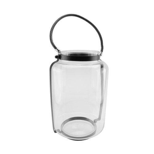"""18"""" Clear Glass Hurricane Candle Holder Lantern with Jet Black Metal Frame - IMAGE 1"""