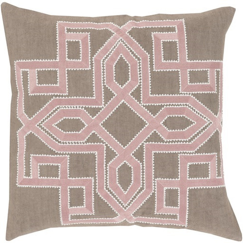"""18"""" Blush Pink and Brown Woven Square Throw Pillow - IMAGE 1"""
