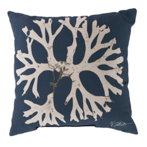 "18"" Navy Blue and Beige Contemporary Arbol Square Throw Pillow Cover - IMAGE 1"