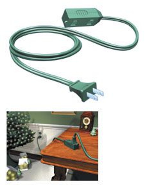 15' Westinghouse Green 3-Outlet Indoor Extension Power Cord with Safety Covers - IMAGE 1