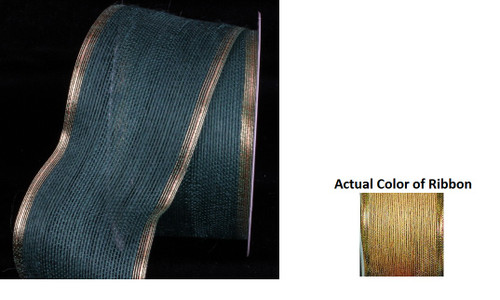 "Brown and Gold Edge Wired Craft Ribbon 3"" x 20 Yards - IMAGE 1"