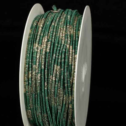 """Forest Green and Gold Wired Craft Ribbon 0.25"""" x 55 Yards - IMAGE 1"""