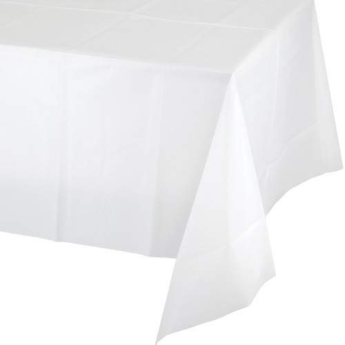 Club Pack of 12 White Disposable Plastic Table Cloth Covers 9' - IMAGE 1