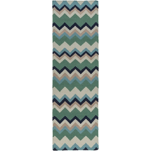2.5' x 8' Zany ZigZag Green and Beige Hand Woven Wool Area Throw Rug Runner - IMAGE 1