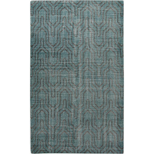 3.5' x 5.5' Teal Green and Midnight Black Rectangular Area Rug - IMAGE 1