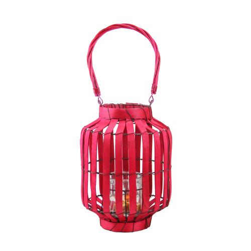 """20"""" Tropicalia Blush Red Cabana Tiki Bar Votive Candle Holder Lantern - IMAGE 1"""