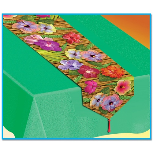 Club Pack of 12 Green Bamboo and Floral Printed Luau Table Runners 6' - IMAGE 1