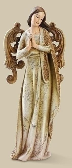 "9.75"" Joseph's Studio Brown & Green Beautifully Ornate Weathered Angel Christmas Table Top Figure - IMAGE 1"
