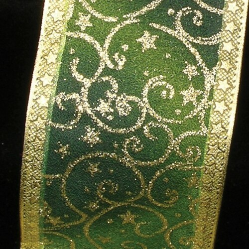 """Green and Gold Star Wired Craft Ribbon 2.5"""" x 20 Yards - IMAGE 1"""