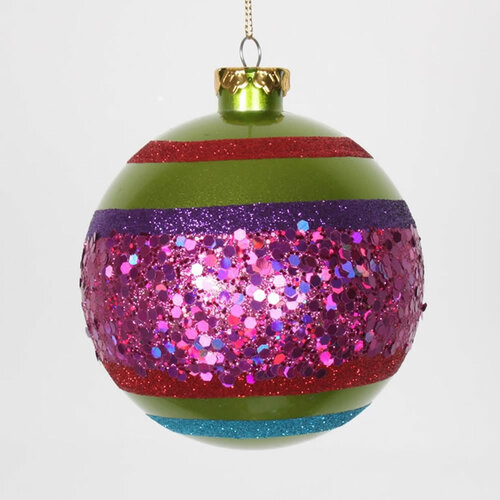 """4ct Lime Green and Cerise Pink Shatterproof 2-Finish Christmas Ball Ornaments 4"""" (100mm) - IMAGE 1"""