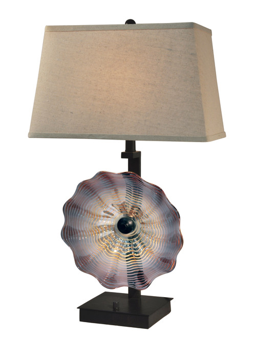 """28.5"""" Beige and Purple Titan Hand Crafted Glass Accent Table Lamp - IMAGE 1"""