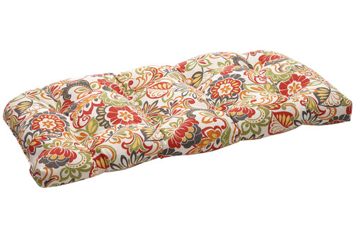 """44"""" White and Red Floral Outdoor Patio Wicker Loveseat Cushion - IMAGE 1"""