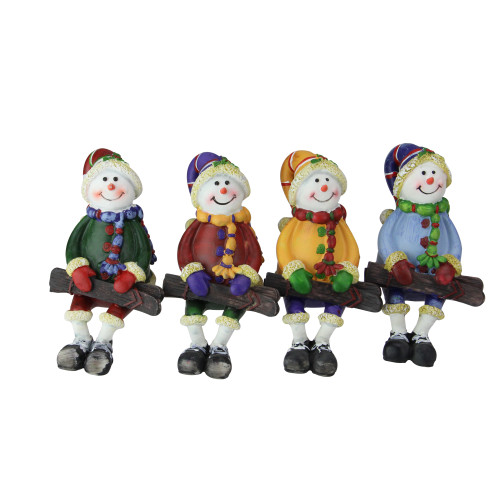 "Club Pack of 48 Vibrantly Colored Sitting Snowman with Ski Tabletop Figurines 5"" - IMAGE 1"