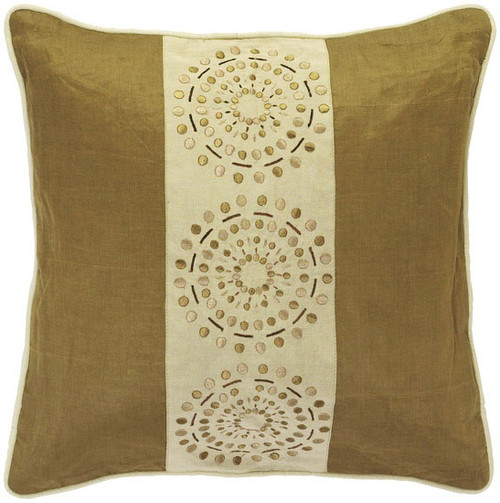 """18"""" Brown and Beige Square Contemporary Throw Pillow - Down Filler - IMAGE 1"""