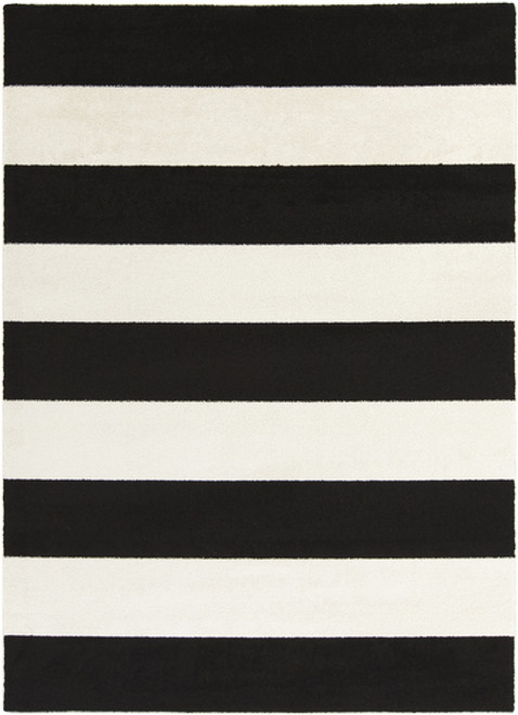 9.25' x 12.5' Black and White Contemporary Machine Woven Striped Rectangular Area Throw Rug - IMAGE 1