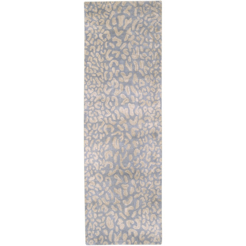 2.5' x 8' Gray and Beige Hand Tufted Rectangular Wool Area Throw Rug Runner - IMAGE 1