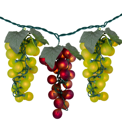 100-Count Yellow and Red Grape Clusters Christmas Light - 5ft Green Wire - IMAGE 1