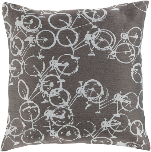 """18"""" Gray and White Crazed Cycles Printed Square Throw Pillow - Down Filler - IMAGE 1"""