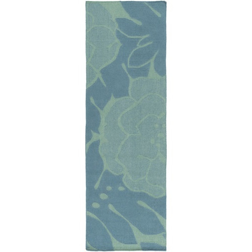 2.5' x 8' Floral Teal Blue and Green Hand Woven Rectangular Wool Area Throw Rug Runner - IMAGE 1