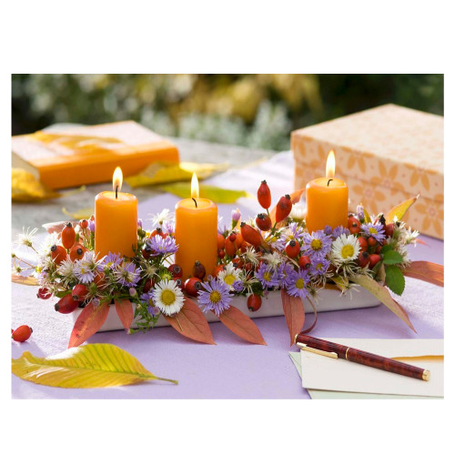 """LED Lighted Floral and Berries Candle Centerpiece Canvas Wall Art 11.75"""" x 15.75"""" - IMAGE 1"""