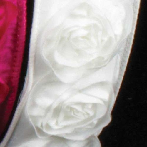 """White Contemporary Roses Wired Craft Ribbon 1.5"""" x 10 Yards - IMAGE 1"""