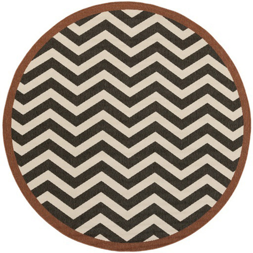 8.75' Brown and Black Machine Woven Round Outdoor Area Throw Rug - IMAGE 1