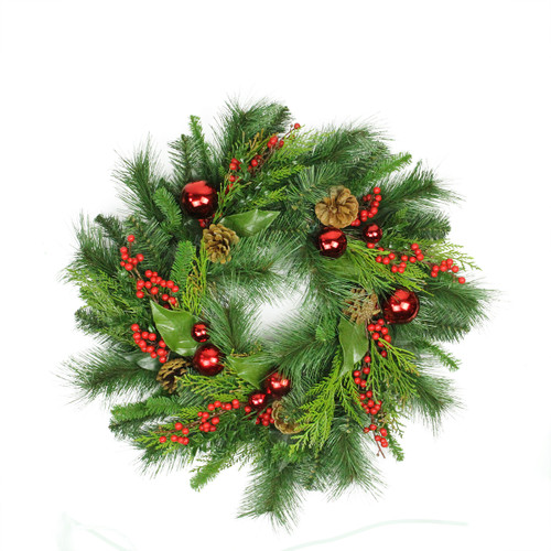 Green and Red Ball Ornament Artificial Christmas Wreath - 24-Inch, Unlit - IMAGE 1