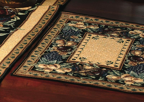 """Tan Brown and Blue Harvest Garden Fruit Table Placemat 18"""" x 13"""" - IMAGE 1"""