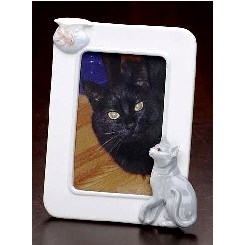 """Club Pack of 12 White Cat and Fish Tabletop Photo Frames 7.75"""" - IMAGE 1"""