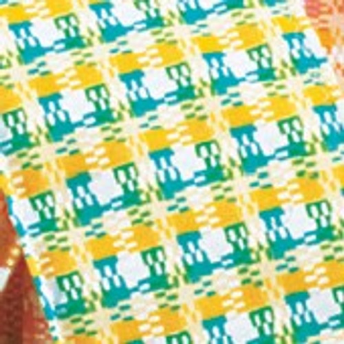 """Green and Yellow Checkered Wired Craft Ribbon 2"""" x 20 Yards - IMAGE 1"""