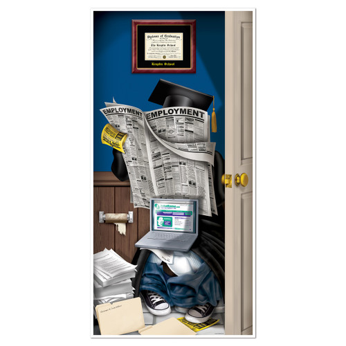 Club Pack of 12 Blue and White Graduate Restroom Door Cover Party Decorations 5' - IMAGE 1