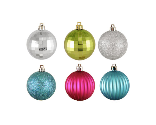 "100ct Silver and Green Shatterproof 3-Finish Jewel Tone Christmas Ball Ornaments 2.5"" (60mm) - IMAGE 1"