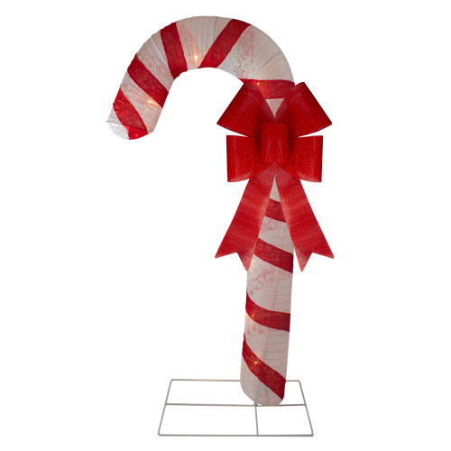 "72"" Pre-Lit Red and White Glitter Candy Cane Christmas Outdoor Decoration - IMAGE 1"