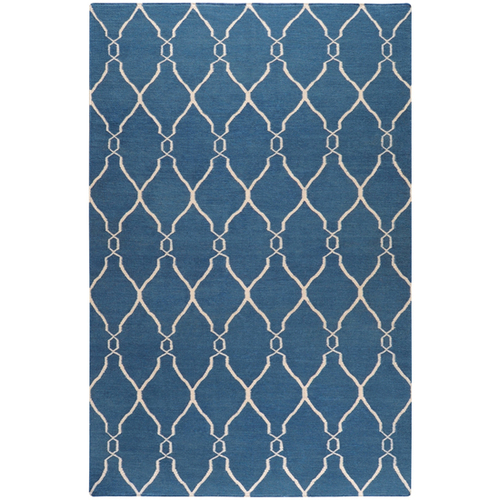 2' x 3' Blue and Beige Damask Hand Tufted Wool Area Throw Rug - IMAGE 1