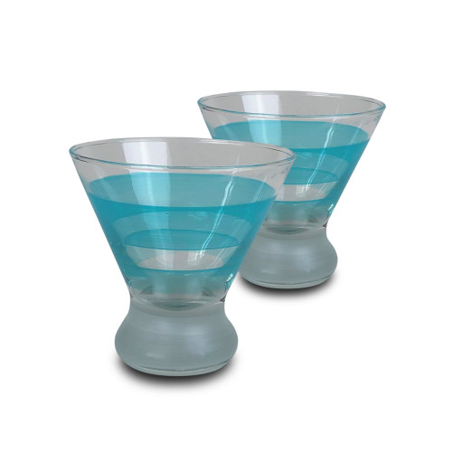 Set of 2 Blue and Clear Striped Cosmopolitan Wine Glasses 8.25 oz. - IMAGE 1
