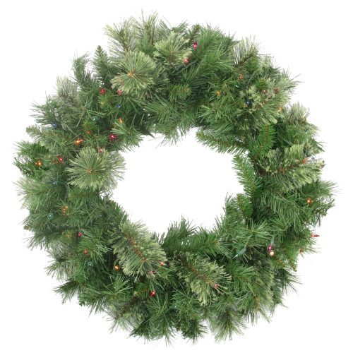 Pre-Lit Mixed Cashmere Pine Artificial Christmas Wreath - 24-Inch, Multi Lights - IMAGE 1