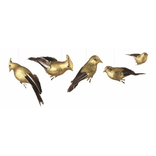 """5ct Black and Gold Shatterproof Gilded Bird Christmas Ornaments 8.5"""" - IMAGE 1"""