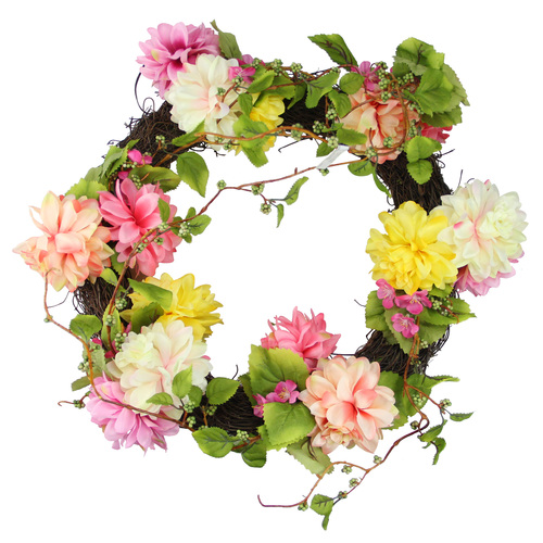 Mums and Wild Blossoms Artificial Floral Wreath, Pink 22-Inch - IMAGE 1