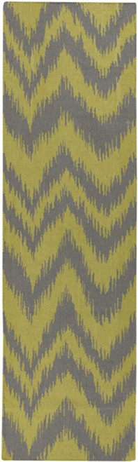 2.5' x 8' Chevron Shock Wave Green and Gray Hand Woven Rectangular Wool Area Throw Rug Runner - IMAGE 1