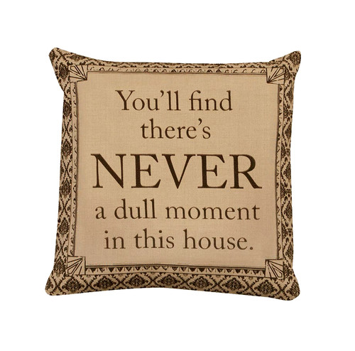 """18"""" Beige and Brown 'Never' Damask Square Throw Pillow - IMAGE 1"""