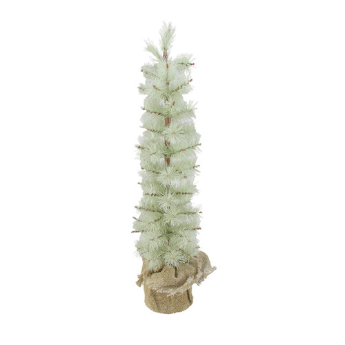 2' Potted Green Frosted Pine Slim Artificial Christmas Tree - Unlit - IMAGE 1