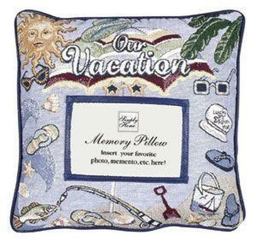 """12"""" Purple Our Vacation Themed Memory Photo Square Throw Pillow - IMAGE 1"""