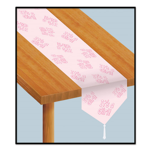 """Set of 12 Pink and White """"It's A Girl!"""" Table Top Runner Party Decorations 6' - IMAGE 1"""