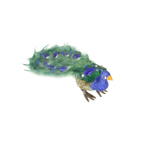 """13"""" Green and Blue Peacock with Closed Tail Feathers Christmas Tabletop Decor - IMAGE 1"""
